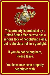 Property Protected by Marine USMC Marine Corps 8 x 12 Aluminum Metal Sign