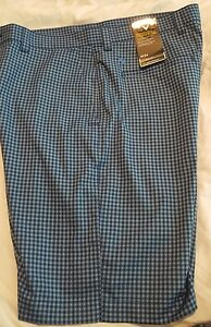 Mens Callaway Golf Shorts Gray Purple Striped Plaids Flat Front Size w 34