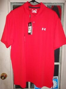 1 new under armour ua heatgear short sleeve polo red L large loose fit