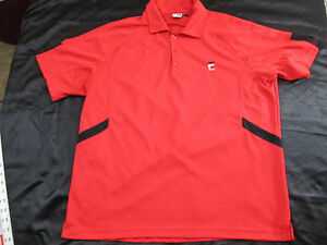Men's Polo Shirt Tennis Size Large Lg By Fila Sport Red Black Vintage Look M193
