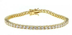 925 Sterling Silver Gold Tone Tennis Bracelet Cubic Zirconia Stones For Women