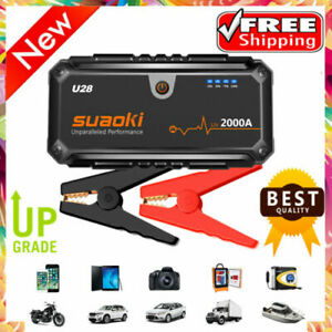 12V 2000A Car Jump Starter Booster Auto Emergency Battery Charger USB Power Bank