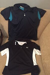 Lot of 2 Womens Golf Tennis Polo Shirt Under Armour Nike Fit Dry Size Medium M