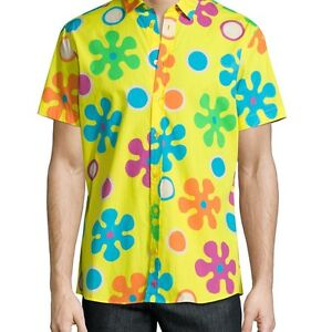 MOSCHINO MENS PSYCHEDELIC FLORAL-PRINT SHORT-SLEEVE SPORT SHIRT