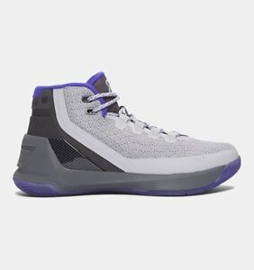 UNDER ARMOUR UA Kids Boys Curry 3 Basketball Shoes Sneakers Rhino Gray Purple