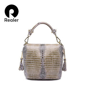 REALER Genuine Leather Bags Women Handbag with Crocodile Pattern Leather