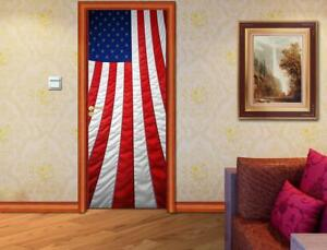 US American Flag DOOR WRAP Removable Decal Wall Sticker Mural D177