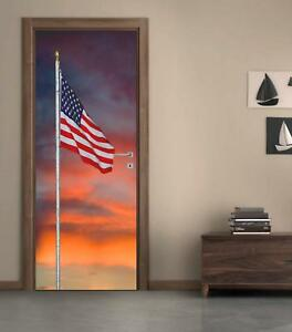 US American Flag Sunset DOOR WRAP Removable Decal Wall Sticker Mural D176