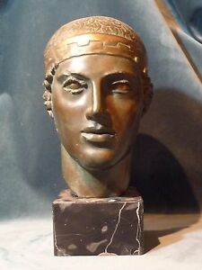 Bronze Head of Classical Greek Young Man by M Papaschos with Permission