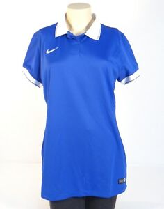 Nike Dri Fit Blue Short Sleeve Polo Shirt Women's Large L NWT