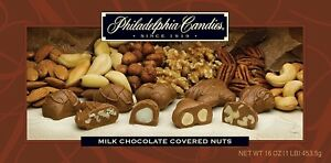 Philadelphia Candies Milk Chocolate Covered Assorted Nuts, 1 Pound Gift Box