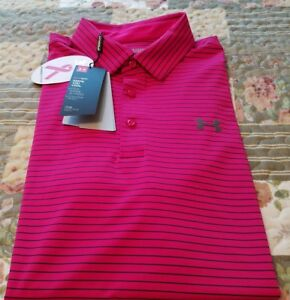 Under Armour Mens Heat Gear Polo Shirt *XL  Loose* NWT *Power In  Pink* Stripe
