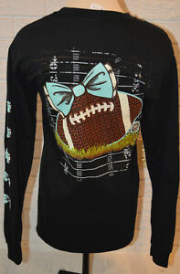 Women's Girlie Girl Bowtie Football Long Sleeve Black T-Shirt Top Size Small
