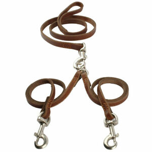 Dog Leash Double Walking Pet Lead Coupler Soft Leather Multiple Safety Breed Set