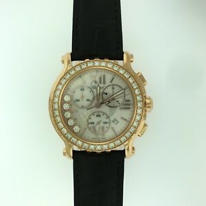 CHOPARD Happy Diamonds Chronograph~18K Rose Gold+Large Diamonds~New wBoxPapers