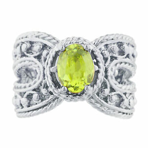Peridot Oval Cocktail Design Ring .925 Sterling Silver