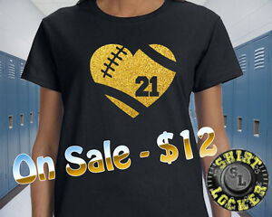 Custom Glitter Football Heart Womens Tee Shirt Spirit Wear Football Mom ON SALE!