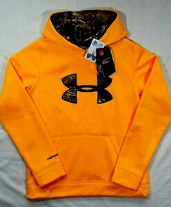 NWT UNDER ARMOUR STORM 1 Hoodie Size Youth LARGE YLG Water Resistant Orange Camo