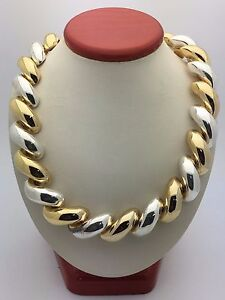 Italian 925 Sterling SIlver Gold Plated San Marco Necklace 16