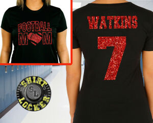 Custom Glitter Football Mom Womens Tee Shirt Spirit Wear All Color Combinations