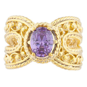 14Kt Yellow Gold Plated Amethyst Oval Cocktail Design Ring