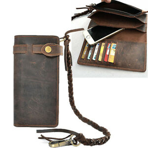 Vintage Men#x27;s Leather Card Holder Long Chain Trucker Wallet Biker Billfold Purse