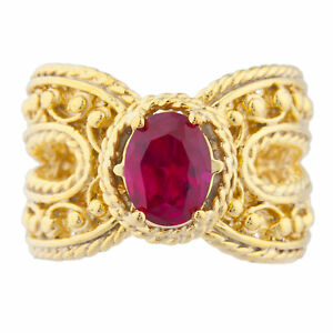 14Kt Yellow Gold Plated Ruby Oval Cocktail Design Ring