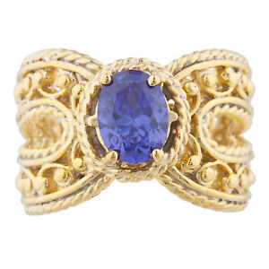 14Kt Yellow Gold Plated Tanzanite Oval Cocktail Design Ring