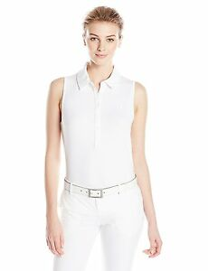 UNDER ARMOUR WOMENS UA ZINGER SLEEVELESS TENNIS GOLF POLO SOLID WHITE SIZE SMALL