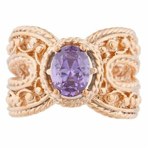 14Kt Rose Gold Plated Amethyst Oval Cocktail Design Ring