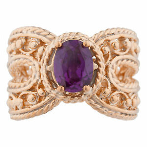 14Kt Rose Gold Plated Alexandrite Oval Cocktail Design Ring