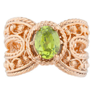 14Kt Rose Gold Plated Peridot Oval Cocktail Design Ring