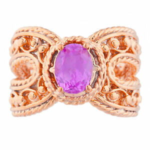 14Kt Rose Gold Plated Pink Sapphire Oval Cocktail Design Ring