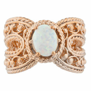 14Kt Rose Gold Plated Opal Oval Cocktail Design Ring