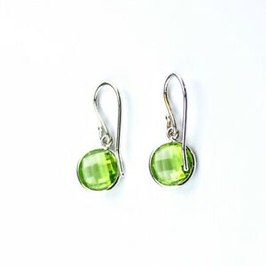 Peridot Earrings Set In 14K White Gold (8mm Round Checkerboard Cut)