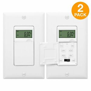 ENERLITES In Wall Digital Timer Decorator Switch for Outdoor Lights 2 Pack $29.98