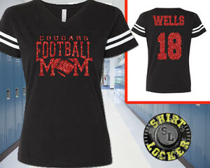 Custom Glitter Football Mom Womens Football Jersey Tee Shirt Spirit Wear