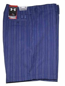 Mens Under Armour Golf Shorts Blue Pinstripe Size 36