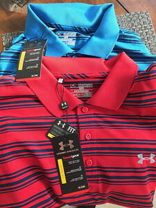 (2) UNDER ARMOUR MEN'S HEAT GEAR GOLF LOOSE FIT STRIPE POLO SHIRTS SIZE 2XL New
