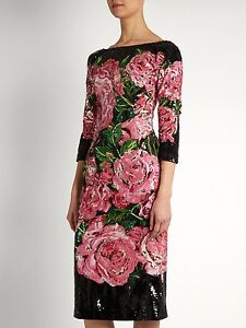 23k *DOLCE & GABBANA* Pure Luxury Floral Rose Sequined Midi Dress NWT IT 40