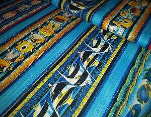 Tropical Oceanview Paradise Reef Fish Blue Yellow Sealife Cotton Fabric BTHY