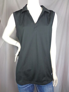 Nike Fit Dry Black Collared Sleeveless Tank Top Shirt sz XL Women's Activewear