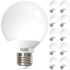 Sunco 10 Pack G25 LED Vanity Bulb Dimmable 6W (40W) 5000K Daylight 450 lm