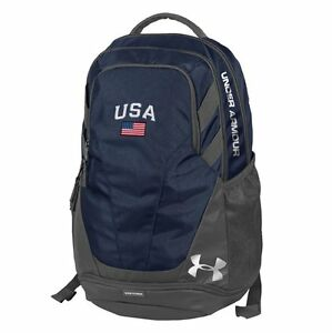 Under Armour-Hustle III-USA Backpack with American Flag Patch-Navy