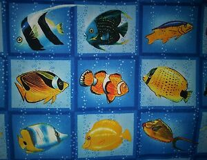 Tropical Oceanview Paradise Reef Fish Blue Yellow BLOCK Cotton Fabric BTHY