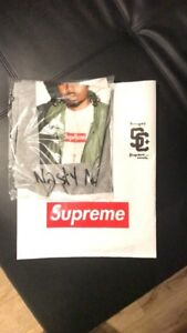 Supreme Nas Gray Medium T Shirt FW17 Sake Chopsticks Blimp Nike FW 17