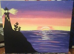 Sunset with lighthouse painting $30.00