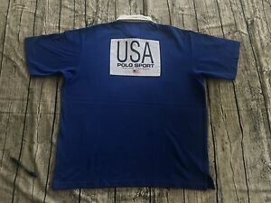 Vintage POLO SPORT RALPH LAUREN K SWISS Team USA Olympic Stadium Rugby Tee Shirt
