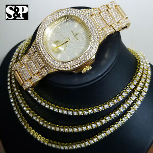 Iced Out Gold PT 1 Row Lab Diamond Tennis Choker Chain Necklace