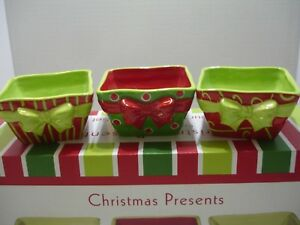 Christmas Presents Fanny Serving Set Tray With 3 Bowls Multicolored